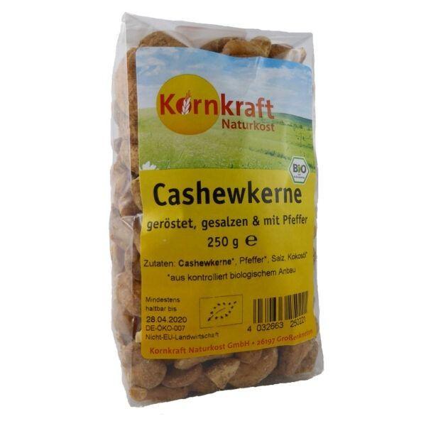 Kornkraft Cashew Kerne geröstet mit Salz und Pfeffer 8x250g