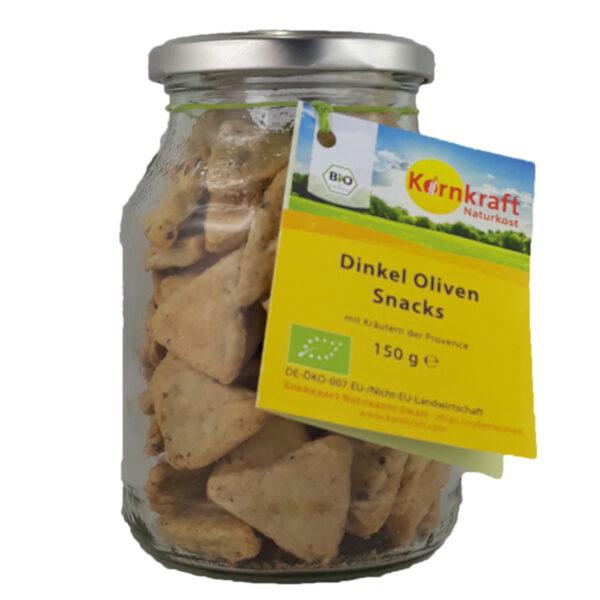 Kornkraft Dinkel Oliven-Snacks Kräuter, vegan 150 g Pfandglas 6x150g