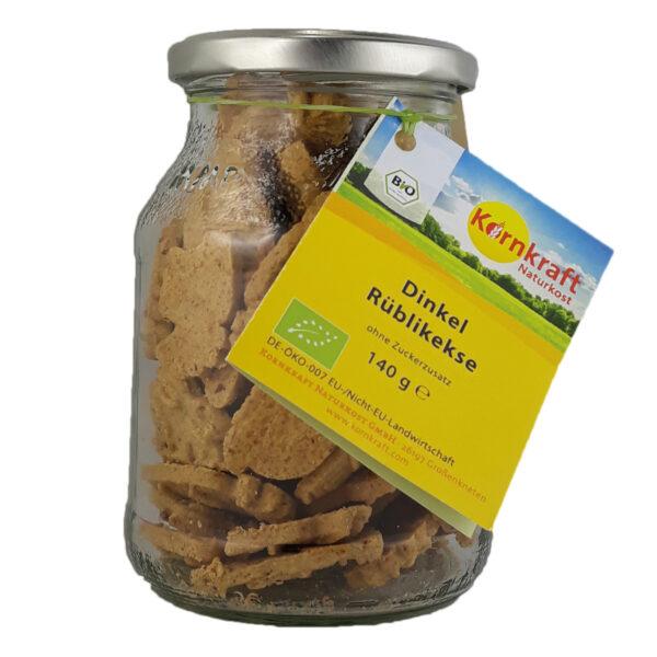 Kornkraft Dinkel Rübli Kekse, vegan 140 g Pfandglas 6x140g