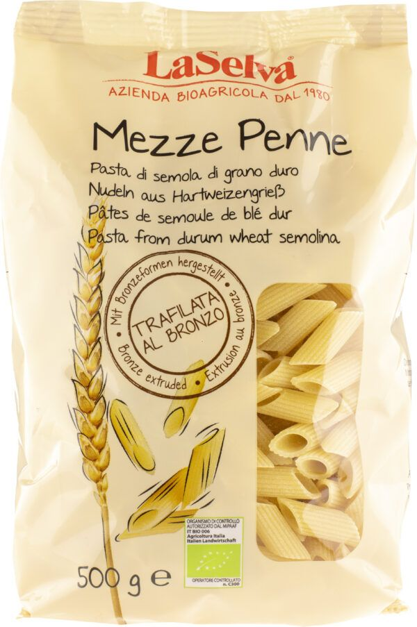 LaSelva Mezze Penne - Nudeln aus Hartweizengrieß 12x500g