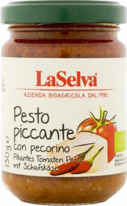 LaSelva Pikantes Tomaten Pesto mit Schafskäse - Pikante Tomatenwürzpaste 130g