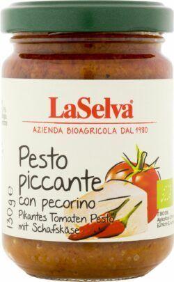 LaSelva Pikantes Tomaten Pesto mit Schafskäse - Pikante Tomatenwürzpaste 6x130g