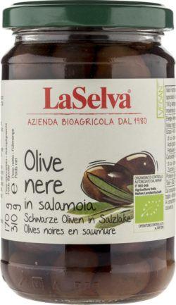 LaSelva Schwarze Oliven mit Stein in Salzlake 6x310g
