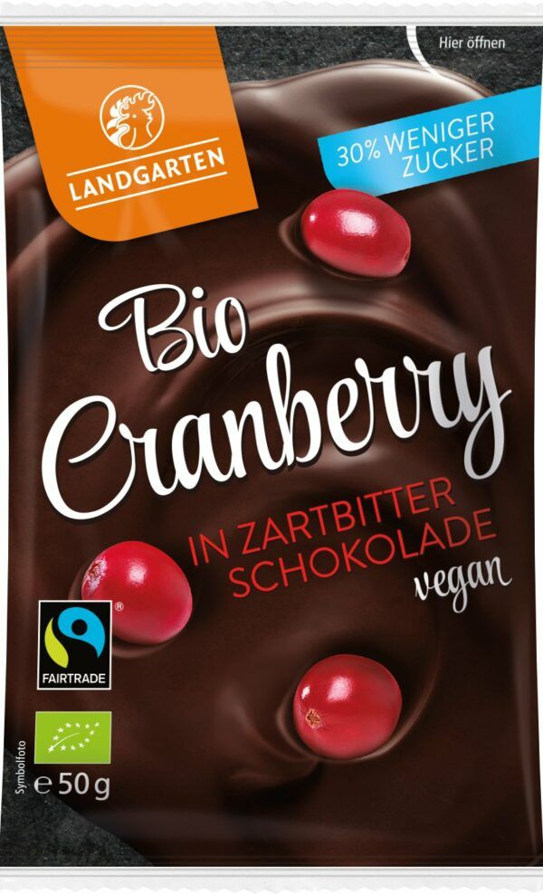 Landgarten Bio FT Cranberry in Zartbitter-Schokolade 50g