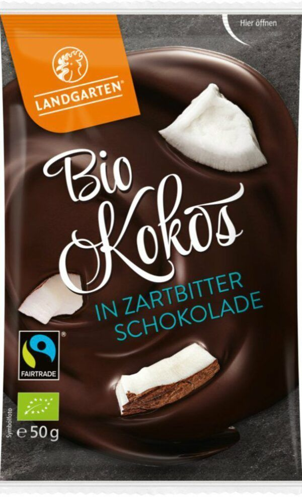 Landgarten Bio FT Kokos in Zartbitter-Schokolade 10x50g
