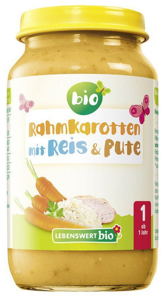 Lebenswert bio Rahmkarotten mit Reis & Pute 6x220g