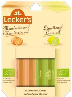 Lecker´s Bio Mandarinen-/Limettenöl, 100% naturreines Aroma 8x8ml