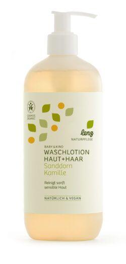 Lenz Naturpflege Baby & Kind Waschlotion Haut + Haar Sanddorn Kamille 500ml