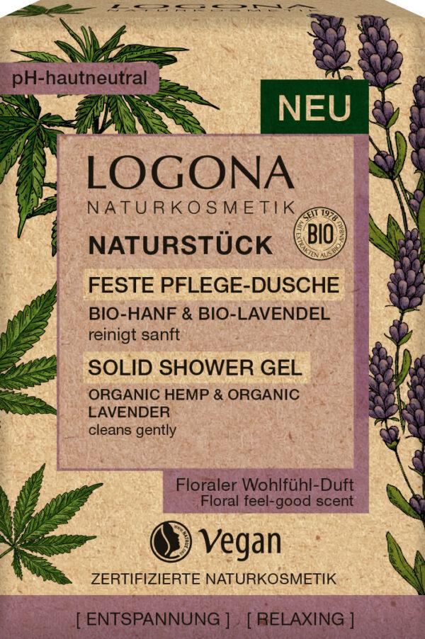 Logona NATURSTÜCK feste Pflege-Dusche Bio-Hanföl & Bio-Lavendel 60g