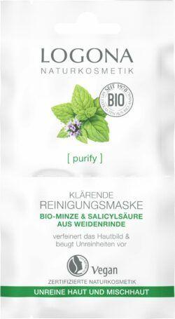 Logona PURIFY Klärende Reinigungsmaske Bio-Minze & Salicylsäure aus der Weidenrinde 10x15ml