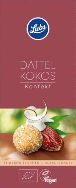 Lubs Dattel Kokos Konfekt, Bio-Fruchtkonfekt, glutenfrei, vegan 6x100g