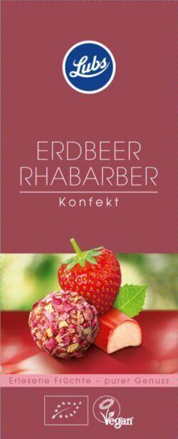 Lubs Erdbeer Rhabarber Konfekt, Bio-Fruchtkonfekt, glutenfrei, vegan 6x80g