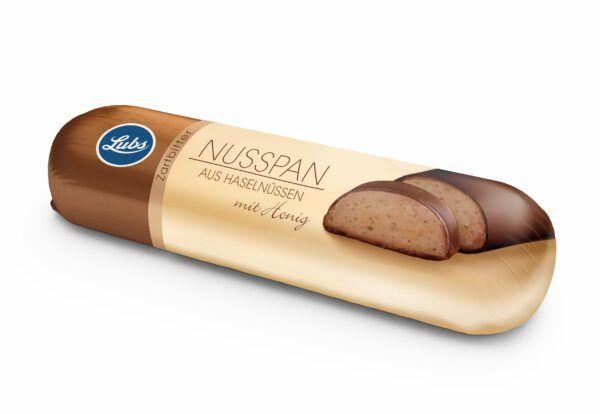 Lubs Nusspan aus Haselnüssen mit Honig und Zartbitterschokolade, Bio, glutenfrei 18x50g