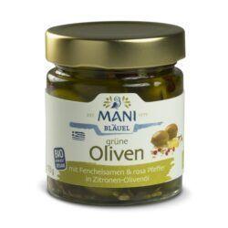MANI® MANI Grüne Oliven mit Fenchelsamen und rosa Pfeffer in Zitronen-Olivenöl, bio 6x185g