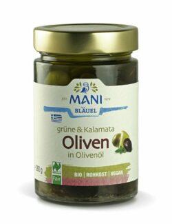 MANI® MANI Grüne & Kalamata Oliven in Olivenöl, bio, NL Fair 6x280g