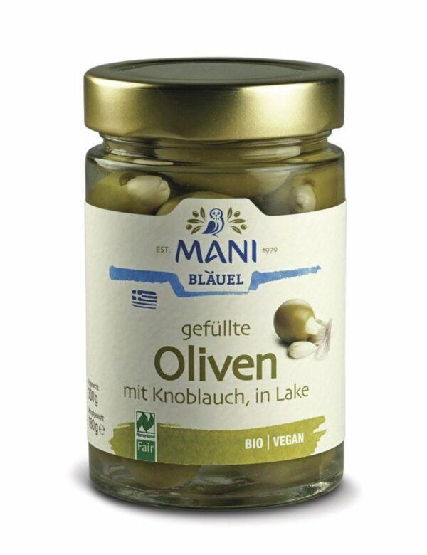 MANI® MANI Oliven gefüllt mit Knoblauch, bio, NL Fair 6x300g