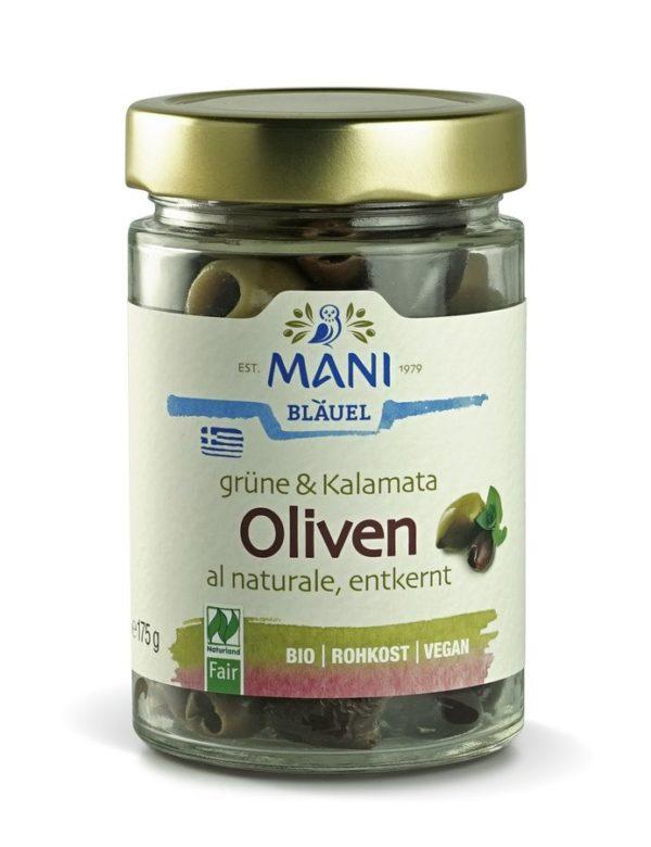 MANI Grüne & Kalamata Oliven al naturale, entkernt, bio, NL Fair 6x175g