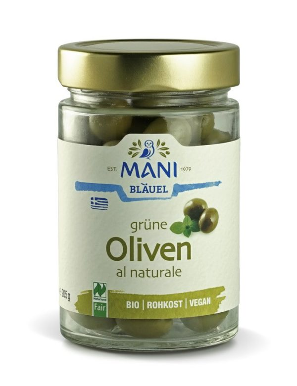 MANI® MANI Grüne Oliven al naturale, bio, NL Fair 6x205g