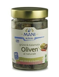 MANI® MANI Grüne & Kalamata Oliven al naturale, Chili & Kräutern, bio, NL Fair 6x205g