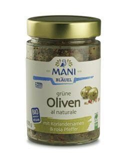 MANI® MANI Grüne Oliven al naturale mit Koriandersamen & rosa Pfeffer, bio, NL Fair 6x205g