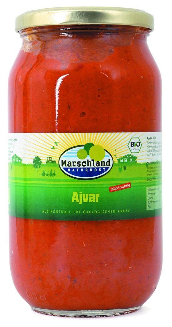 Marschland  Bio-Ajvar mild 1.000 ml Gl. MARSCHLAND 6x980g