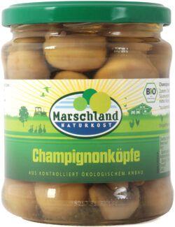 Marschland  Bio-Champignon Köpfe 370 ml Gl. MARSCHLAND 6x330g