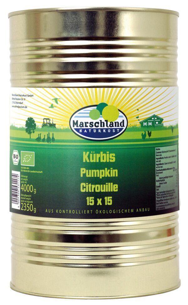 Marschland  Bio-Kürbiswürfel 15x15 ohne Süßung 4.250 ml Ds. MARSCHLAND 4000g