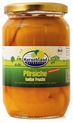 Marschland  Bio-Pfirsiche, halbe Früchte 720 ml Gl. MARSCHLAND 680g