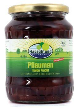 Marschland  Bio-Pflaumen, halbe Früchte 720 ml Gl. MARSCHLAND 680g
