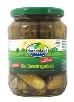 Marschland Bioland Bio-Gewürzgurken ohne Zucker 720ml Gl. MARSCHLAND 670g