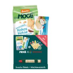 Mogli Bio Snack Paket BLAU mit Wachsmalstift von Stockmar 5x140g