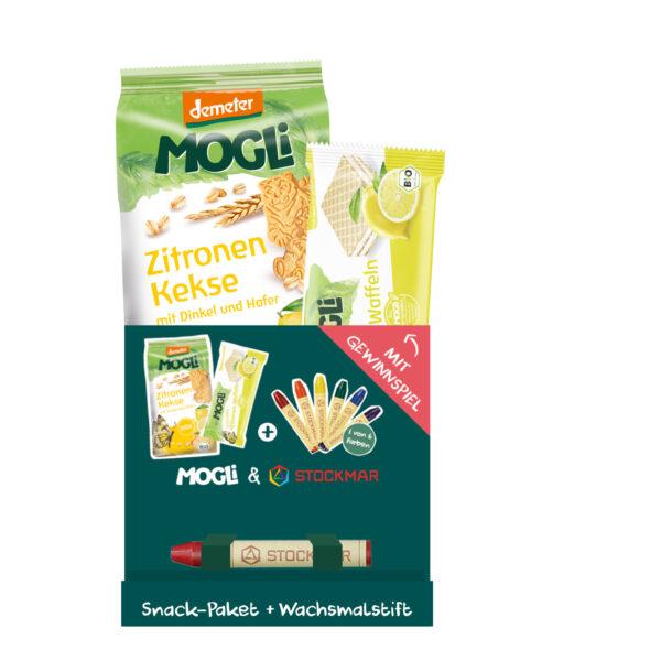 Mogli Bio Snack Paket GELB mit Wachsmalstift 5x140g