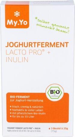 My.Yo Bio-Joghurtferment Lacto Pro® + Inulin, zur Herstellung von je 1L Joghurt, Inhalt: 3 Beutel à 25g 75g
