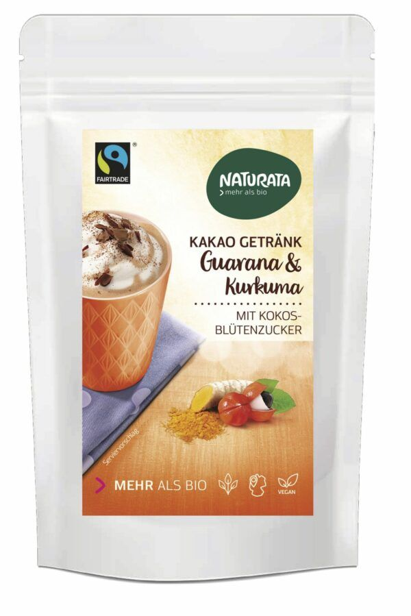 NATURATA Kakao Getränk mit Guarana & Kurkuma 8x100g