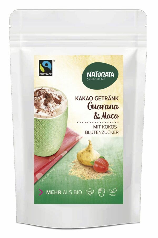 NATURATA Kakao Getränk mit Guarana & Maca 8x100g