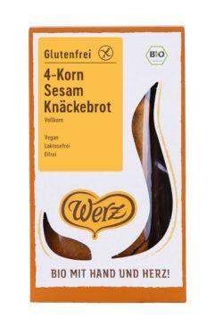 Naturkornmühle Werz 4-Korn Sesam Knäckebrot, Vollkorn, glutenfrei 8x150g