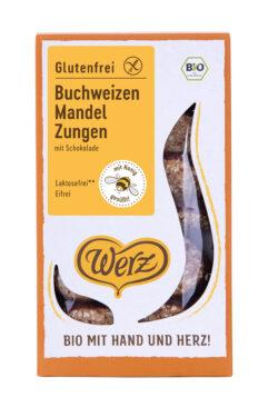 Naturkornmühle Werz Buchweizen Mandel Zungen mit Schokolade, Vollkornkekse, glutenfrei 8x150g