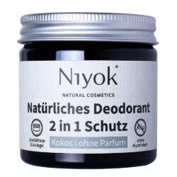 Niyok - 2 in 1 Deodorant Creme Anti-Transpirant: Kokos, ohne Parfum 40ml