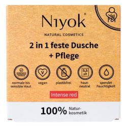 Niyok - 2 in 1 feste Dusche & Pflege Intense Red 80g