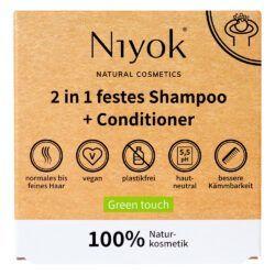 Niyok 2 in 1 festes Shampoo & Conditioner Green Touch 80g