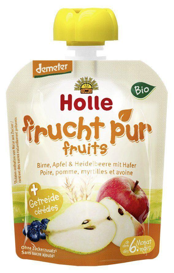 Holle Pouchy Birne, Apfel & Heidelbeere mit Hafer 12x90g