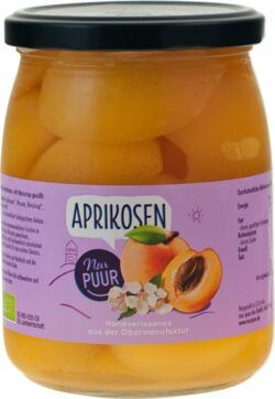 Nur Puur Aprikosen, 570g, halbe Frucht, mit Reissirup gesüßt. 6x570g