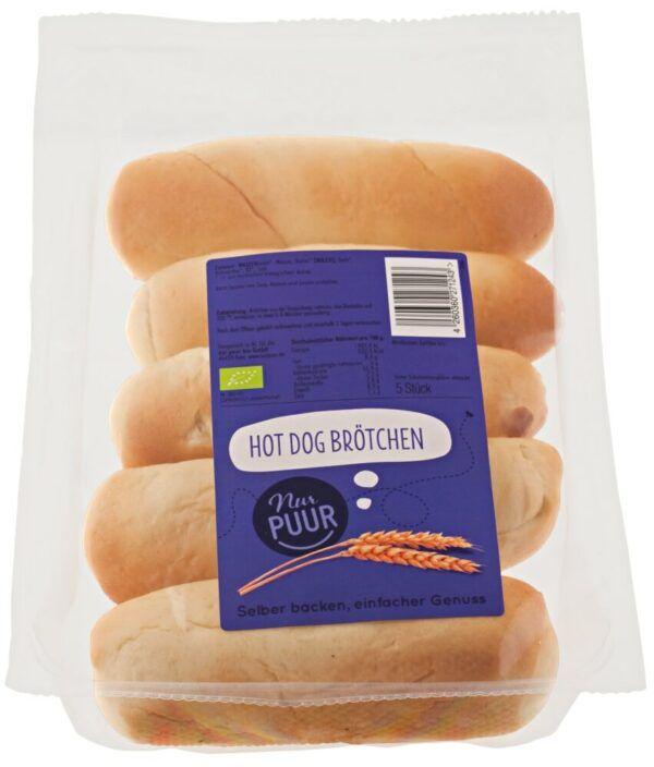Nur Puur Hot Dog Brötchen, 6 x 5 Stück (6 x 300g)