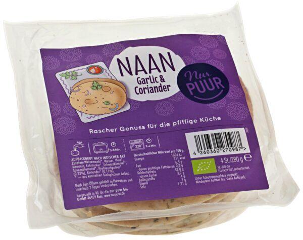 Nur Puur Mini Naan Garlic & Coriander, 8 x 4 Stück (8x280g)