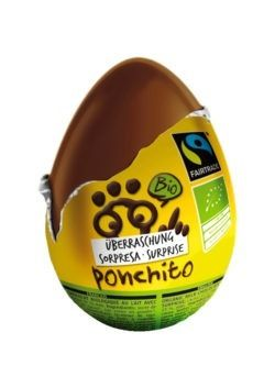 Ponchito organic and Fairtrade milk chocolate egg with surprise 36x20g