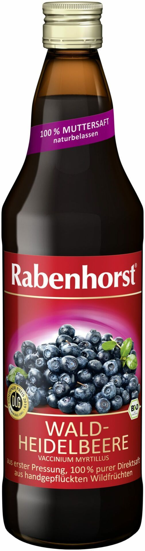 Rabenhorst Waldheidelbeere Muttersaft, Bio 6x750ml