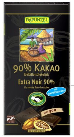 Rapunzel Bitterschokolade 90% Kakao mit Kokosblütenzucker HIH 12x80g