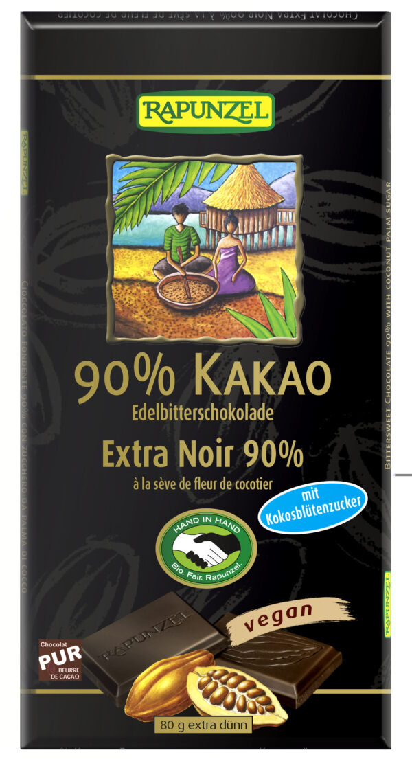 Rapunzel Bitterschokolade 90% Kakao mit Kokosblütenzucker HIH 80g