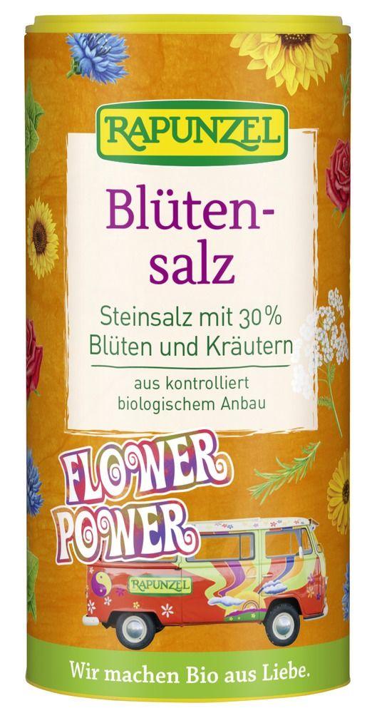 Rapunzel Blütensalz 'Flower Power', Steinsalz mit 30% Blüten und Kräutern 6x90g