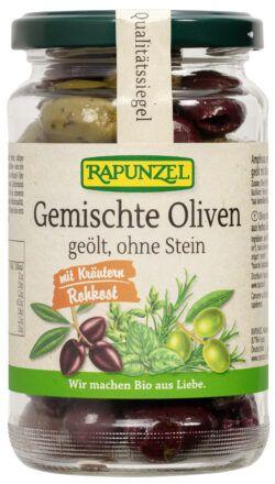Rapunzel Gemischte Oliven mit Kräutern, ohne Stein geölt 170g